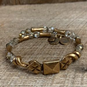 Alex and Ani Vintage 66 Gold Tone Crystal Bracelet